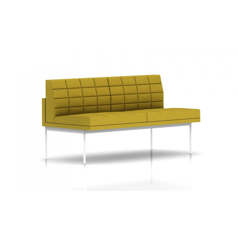 canap tuxedo herman miller 2 places sans accoudoir surpiqures structure blanche tissu. Black Bedroom Furniture Sets. Home Design Ideas