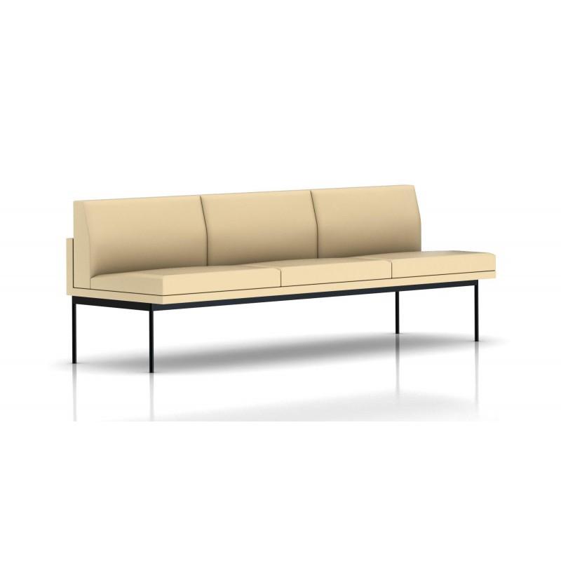 canap tuxedo herman miller 3 places sans accoudoir structure noire cuir mcl almond le. Black Bedroom Furniture Sets. Home Design Ideas