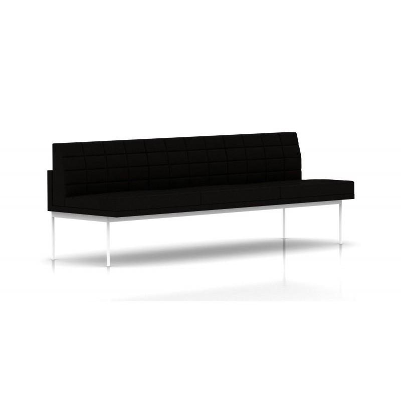 canap tuxedo herman miller 3 places sans accoudoir surpiqures structure blanche tissu. Black Bedroom Furniture Sets. Home Design Ideas