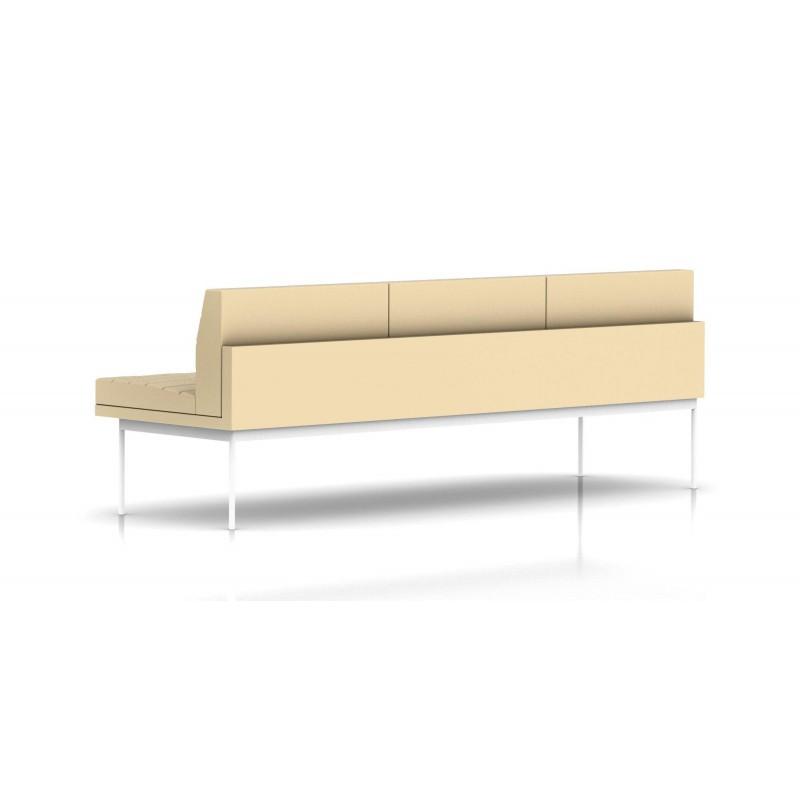 canap tuxedo herman miller 3 places sans accoudoir surpiqures structure blanche cuir. Black Bedroom Furniture Sets. Home Design Ideas