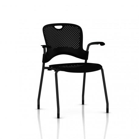 Chaise Caper Herman Miller Avec Accoudoirs - Patins Moquette / Noir / Assise Moulée Noir