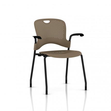 Chaise Caper Herman Miller Avec Accoudoirs - Patins Moquette / Noir / Assise Moulée Cappuccino