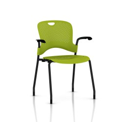 Chaise Caper Herman Miller Avec Accoudoirs - Patins Moquette / Noir / Assise Moulée Green Apple