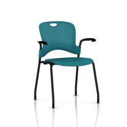 Chaise Caper Herman Miller Avec Accoudoirs - Patins Moquette / Noir / Assise Moulée Turquoise