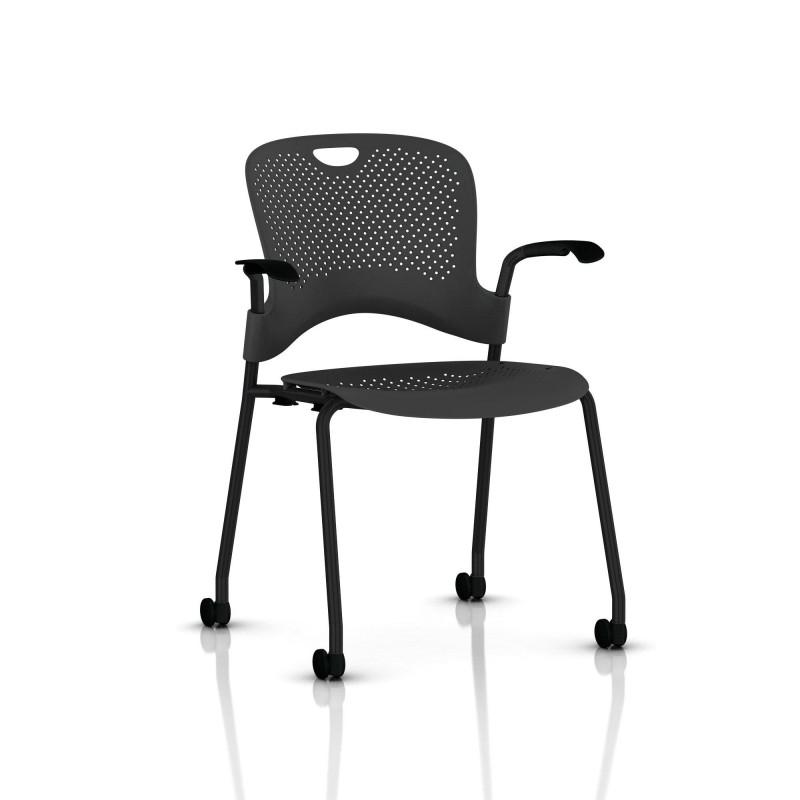 chaise caper herman miller avec accoudoirs roulettes moquette. Black Bedroom Furniture Sets. Home Design Ideas