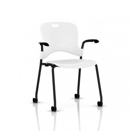 Chaise Caper Herman Miller Avec Accoudoirs - Roulettes Moquette / Noir / Assise Moulée Studio White