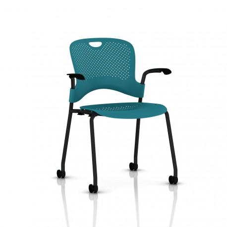 Chaise Caper Herman Miller Avec Accoudoirs - Roulettes Moquette / Noir / Assise Moulée Turquoise