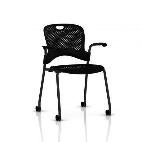 Chaise Caper Herman Miller Avec Accoudoirs - Roulettes Sol Dur / Noir / Assise Moulée Noir