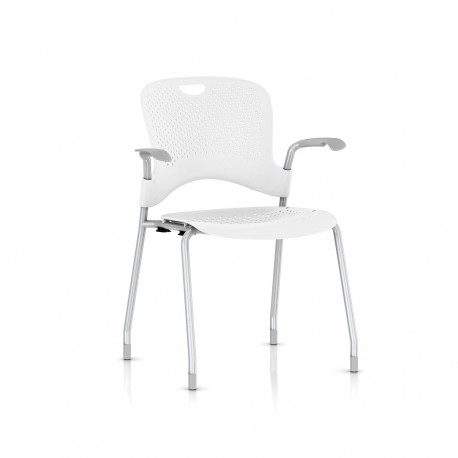 Chaise Caper Herman Miller Avec Accoudoirs - Patins Moquette / Metallic Silver / Assise Moulée Studio White