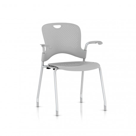 Chaise Caper Herman Miller Avec Accoudoirs - Patins Moquette / Metallic Silver / Assise Moulée Fog