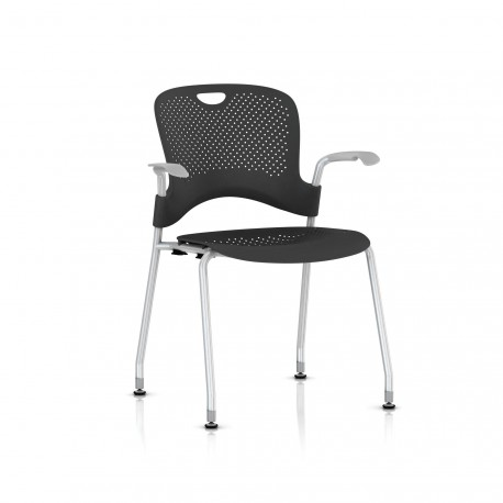 Chaise Caper Herman Miller Avec Accoudoirs - Patins Sol Dur / Metallic Silver / Assise Moulée Graphite