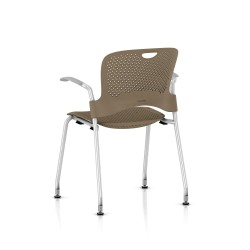 Chaise Caper Herman Miller Avec Accoudoirs - Patins Sol Dur / Metallic Silver / Assise Moulée Cappuccino