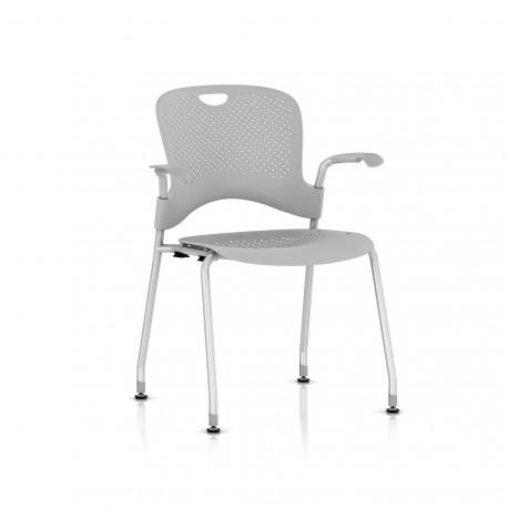Chaise Caper Herman Miller Avec Accoudoirs - Patins Sol Dur / Metallic Silver / Assise Moulée Fog