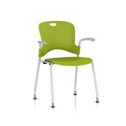 Chaise Caper Herman Miller Avec Accoudoirs - Patins Sol Dur / Metallic Silver / Assise Moulée Green Apple