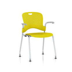 Chaise Caper Herman Miller Avec Accoudoirs - Patins Sol Dur / Metallic Silver / Assise Moulée Lemon