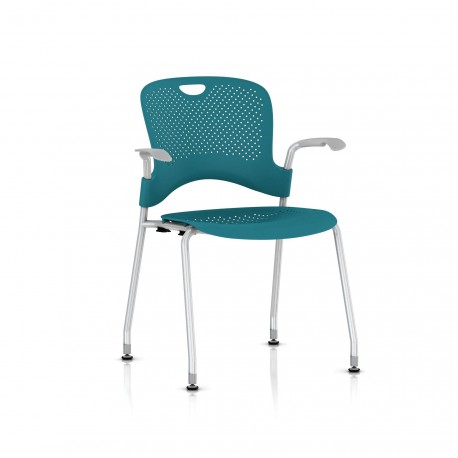 Chaise Caper Herman Miller Avec Accoudoirs - Patins Sol Dur / Metallic Silver / Assise Moulée Turquoise