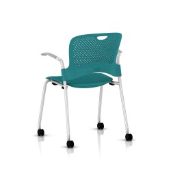 Chaise Caper Herman Miller Avec Accoudoirs - Roulettes Moquette / Metallic Silver / Assise Moulée Turquoise