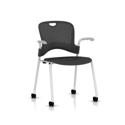 Chaise Caper Herman Miller Avec Accoudoirs - Roulettes Sol Dur / Metallic Silver / Assise Moulée Graphite