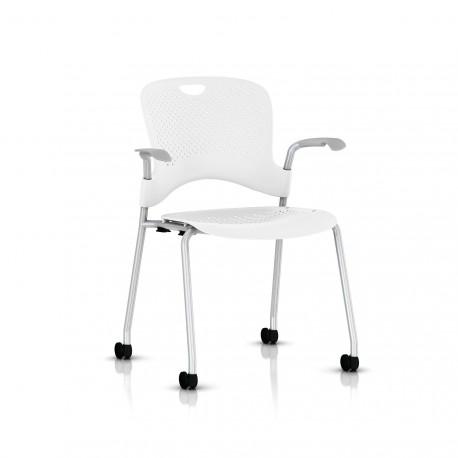 Chaise Caper Herman Miller Avec Accoudoirs - Roulettes Sol Dur / Metallic Silver / Assise Moulée Studio White