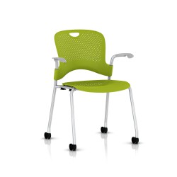 Chaise Caper Herman Miller Avec Accoudoirs - Roulettes Sol Dur / Metallic Silver / Assise Moulée Green Apple