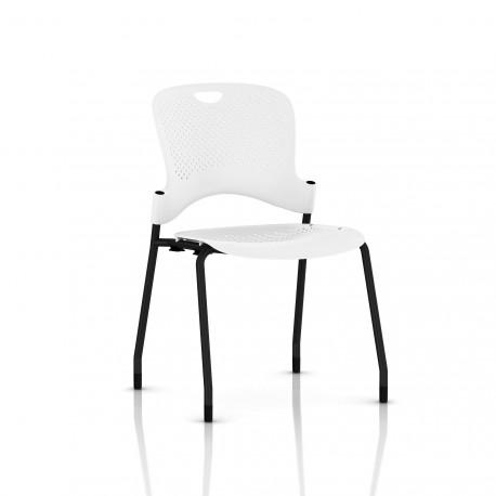 Chaise Caper Herman Miller Sans Accoudoir - Patins Moquette / Noir / Assise Moulée Studio White