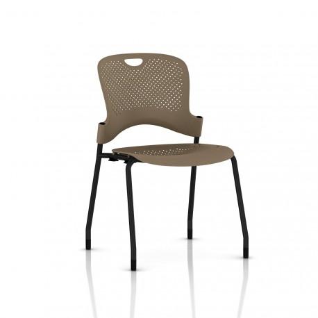 Chaise Caper Herman Miller Sans Accoudoir - Patins Moquette / Noir / Assise Moulée Cappuccino
