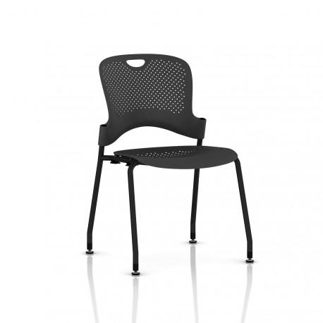 Chaise Caper Herman Miller Sans Accoudoir - Patins Sol Dur / Noir / Assise Moulée Graphite