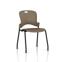 Chaise Caper Herman Miller Sans Accoudoir - Patins Sol Dur / Noir / Assise Moulée Cappuccino