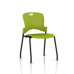 Chaise Caper Herman Miller Sans Accoudoir - Patins Sol Dur / Noir / Assise Moulée Green Apple
