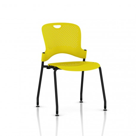Chaise Caper Herman Miller Sans Accoudoir - Patins Sol Dur / Noir / Assise Moulée Lemon