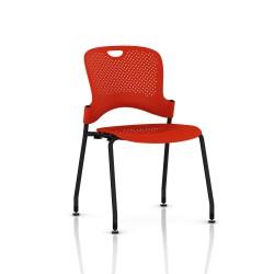 Chaise Caper Herman Miller Sans Accoudoir - Patins Sol Dur / Noir / Assise Moulée Rouge