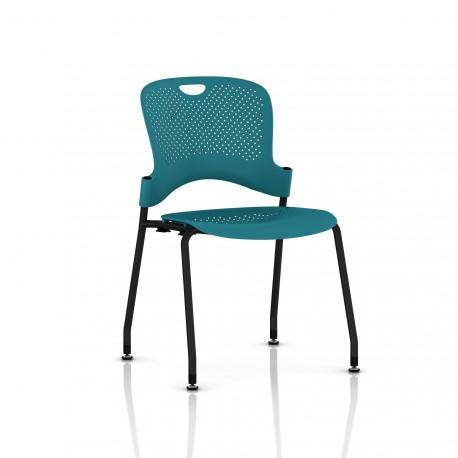Chaise Caper Herman Miller Sans Accoudoir - Patins Sol Dur / Noir / Assise Moulée Turquoise