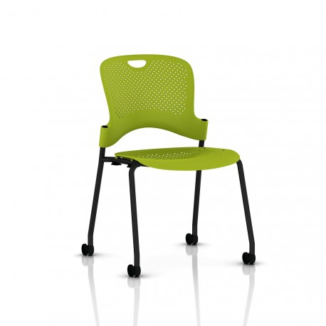 Chaise Caper Herman Miller Sans Accoudoir - Roulettes Moquette / Noir / Assise Moulée Green Apple