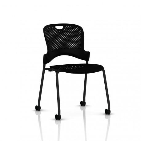 Chaise Caper Herman Miller Sans Accoudoir - Roulettes Sol Dur / Noir / Assise Moulée Noir