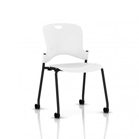 Chaise Caper Herman Miller Sans Accoudoir - Roulettes Sol Dur / Noir / Assise Moulée Studio White