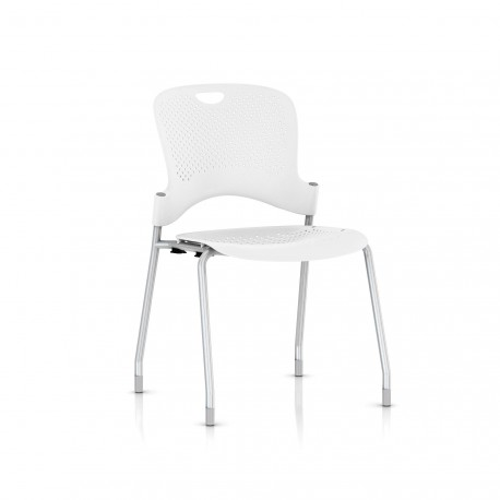 Chaise Caper Herman Miller Sans Accoudoir - Patins Moquette / Metallic Silver / Assise Moulée Studio White
