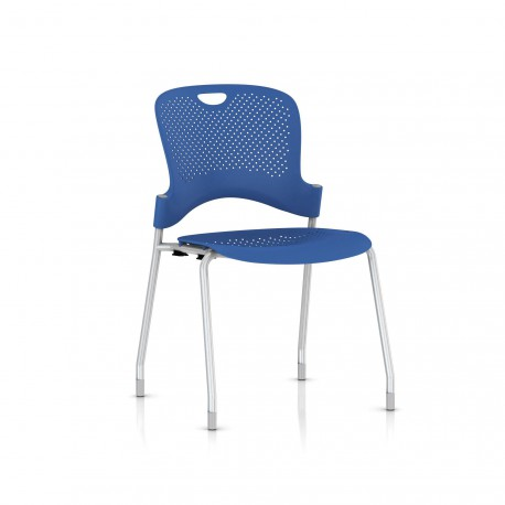 Chaise Caper Herman Miller Sans Accoudoir - Patins Moquette / Metallic Silver / Assise Moulée Berry Blue