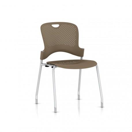 Chaise Caper Herman Miller Sans Accoudoir - Patins Moquette / Metallic Silver / Assise Moulée Cappuccino