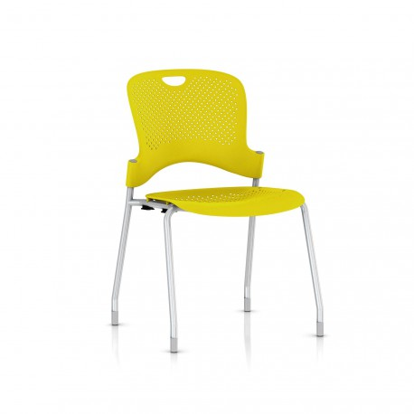 Chaise Caper Herman Miller Sans Accoudoir - Patins Moquette / Metallic Silver / Assise Moulée Lemon