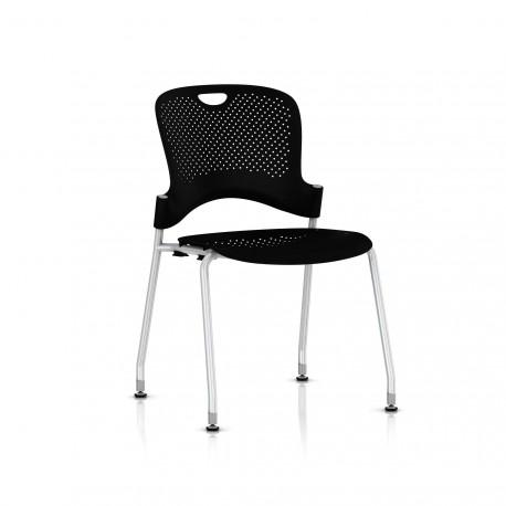 Chaise Caper Herman Miller Sans Accoudoir - Patins Sol Dur / Metallic Silver / Assise Moulée Noir