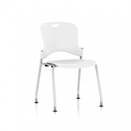 Chaise Caper Herman Miller Sans Accoudoir - Patins Sol Dur / Metallic Silver / Assise Moulée Studio White