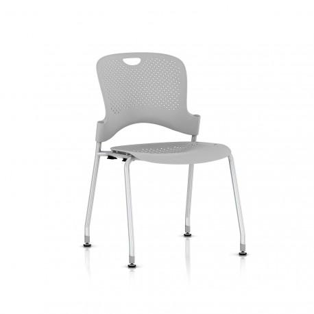 Chaise Caper Herman Miller Sans Accoudoir - Patins Sol Dur / Metallic Silver / Assise Moulée Fog