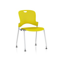 Chaise Caper Herman Miller Sans Accoudoir - Patins Sol Dur / Metallic Silver / Assise Moulée Lemon