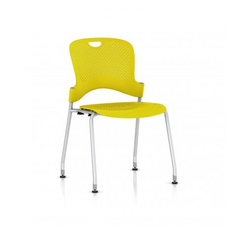 Chaise Caper Herman Miller Sans Accoudoir - Patins Sol Dur / Metallic Silver / Assise Moulée Lemon