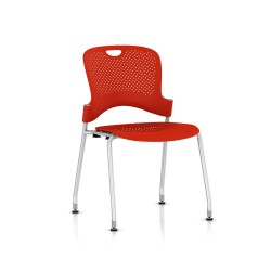 Chaise Caper Herman Miller Sans Accoudoir - Patins Sol Dur / Metallic Silver / Assise Moulée Rouge