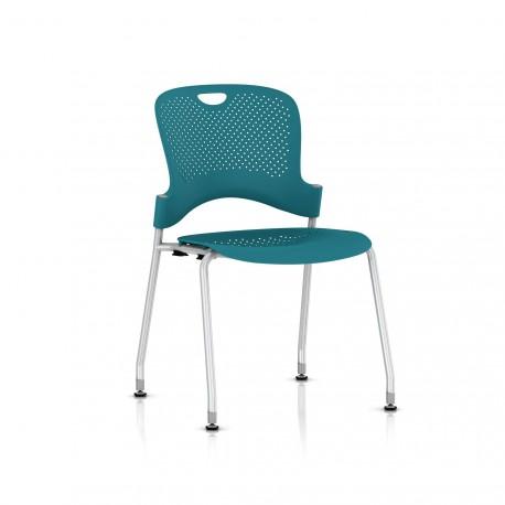Chaise Caper Herman Miller Sans Accoudoir - Patins Sol Dur / Metallic Silver / Assise Moulée Turquoise