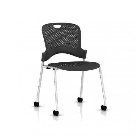 Chaise Caper Herman Miller Sans Accoudoir - Roulettes Sol Dur / Metallic Silver / Assise Moulée Graphite