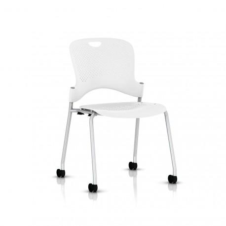 Chaise Caper Herman Miller Sans Accoudoir - Roulettes Sol Dur / Metallic Silver / Assise Moulée Studio White