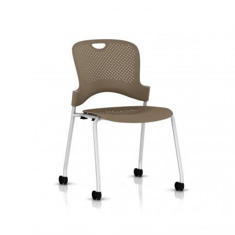 Chaise Caper Herman Miller Sans Accoudoir - Roulettes Sol Dur / Metallic Silver / Assise Moulée Cappuccino