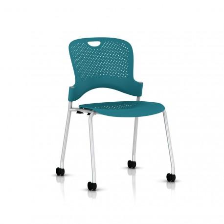 Chaise Caper Herman Miller Sans Accoudoir - Roulettes Sol Dur / Metallic Silver / Assise Moulée Turquoise